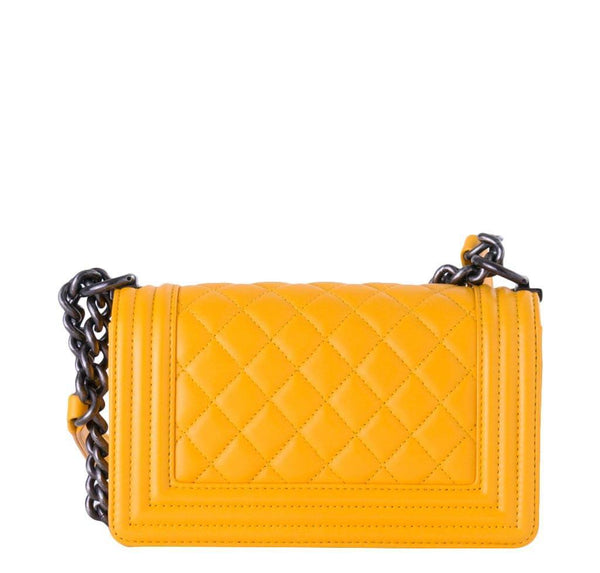 chanel boy flap bag yellow used back