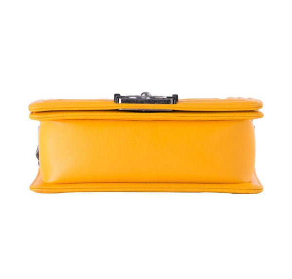 chanel boy flap bag yellow used bottom