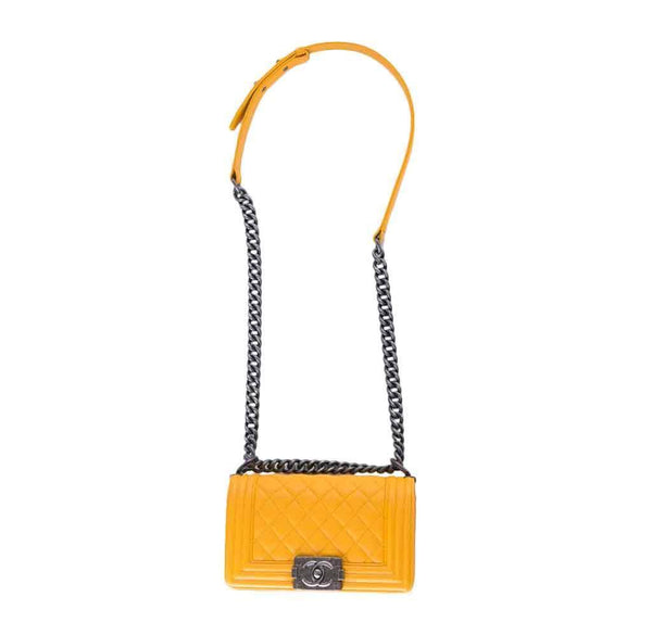chanel boy flap bag yellow used front