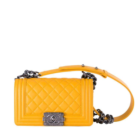Chanel Boy Bag Yellow Silver Hardware