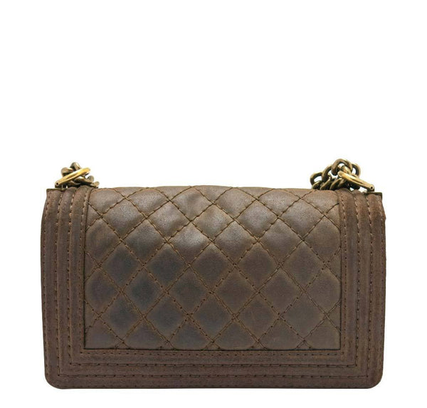 chanel boy flap bag brown used back