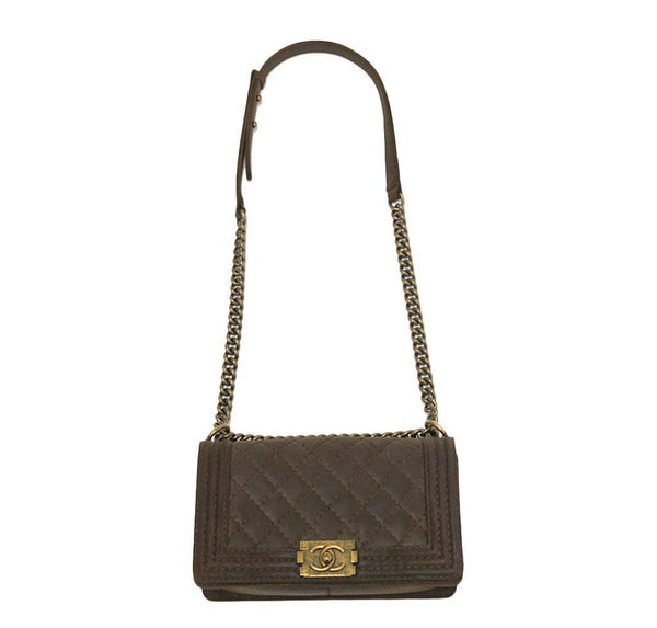 chanel boy flap bag brown used front