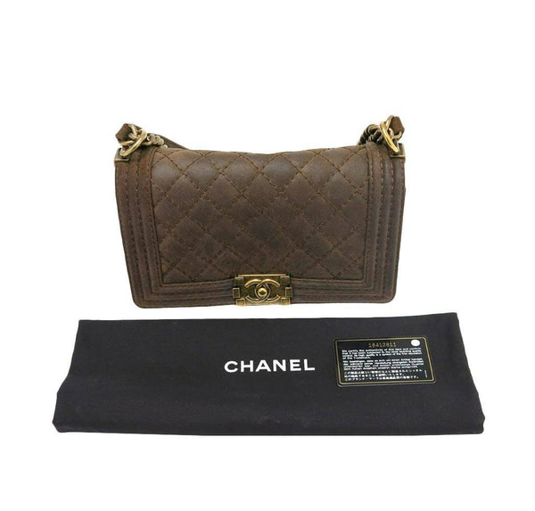 chanel boy flap bag brown used detail