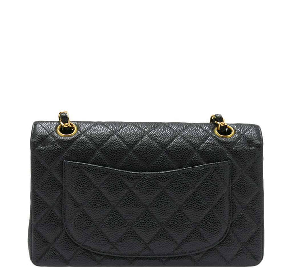 chanel classic double flap bag black used back
