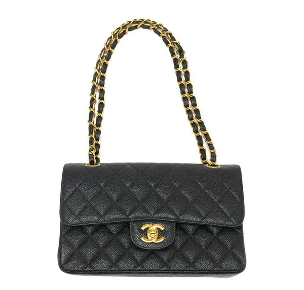 chanel classic double flap bag black used front