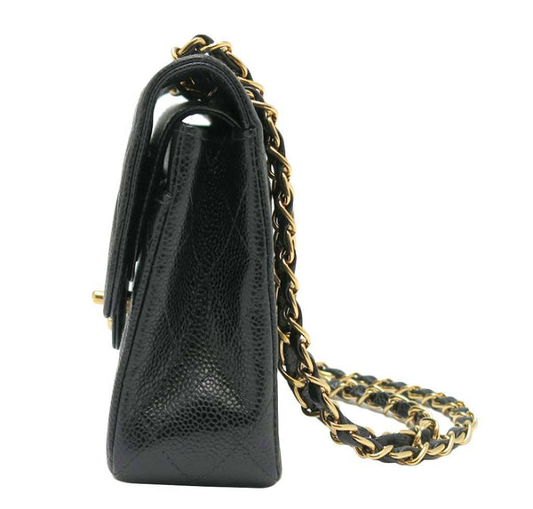 chanel classic double flap bag black used side