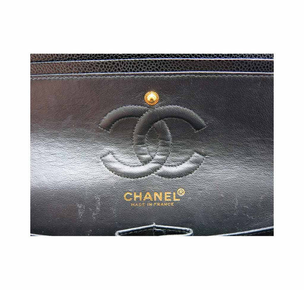 chanel classic double flap bag black used detail