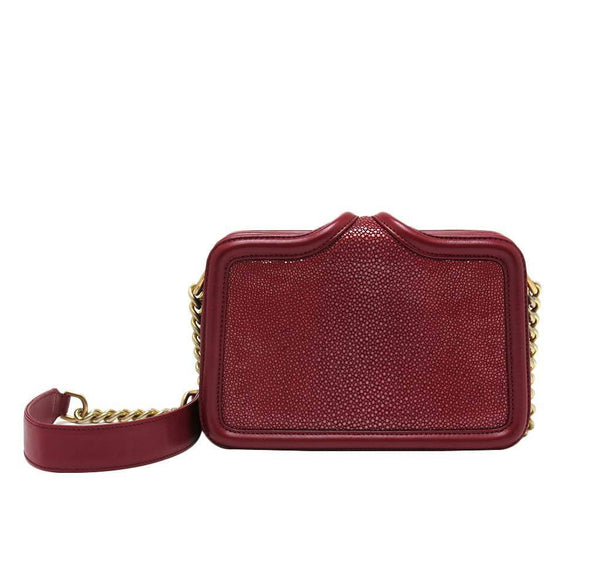 chanel stingray shoulder bag burgundy used back