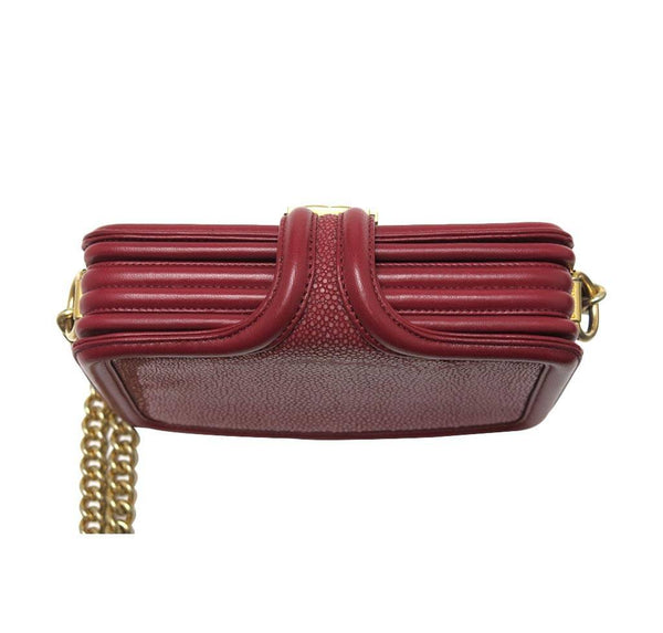 chanel stingray shoulder bag burgundy used top