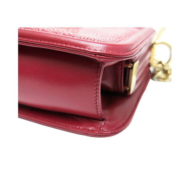 chanel stingray shoulder bag burgundy used corner