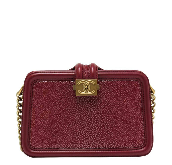 Chanel Stingray Shoulder Bag Burgundy