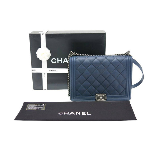 chanel boy flap bag navy used complete