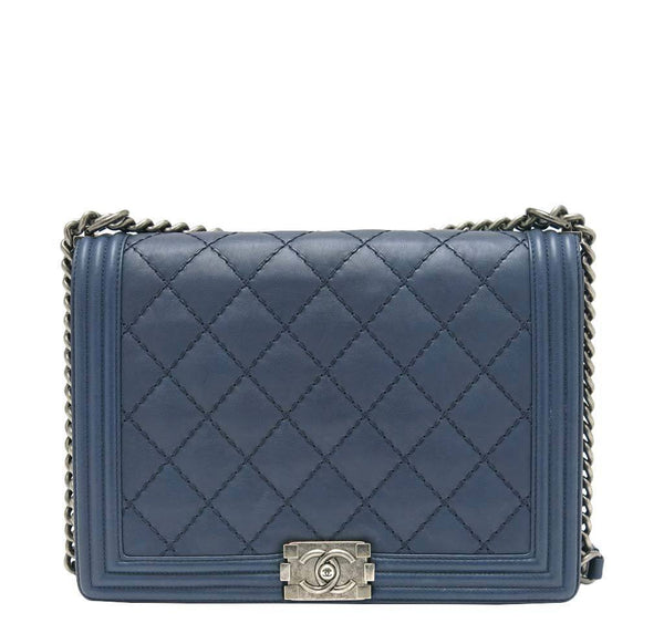 Chanel Boy Bag Navy Silver Hardware