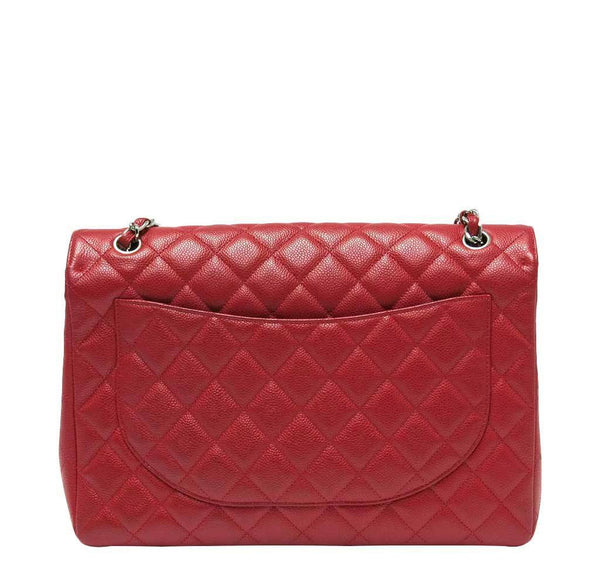 chanel single flap bad red used back