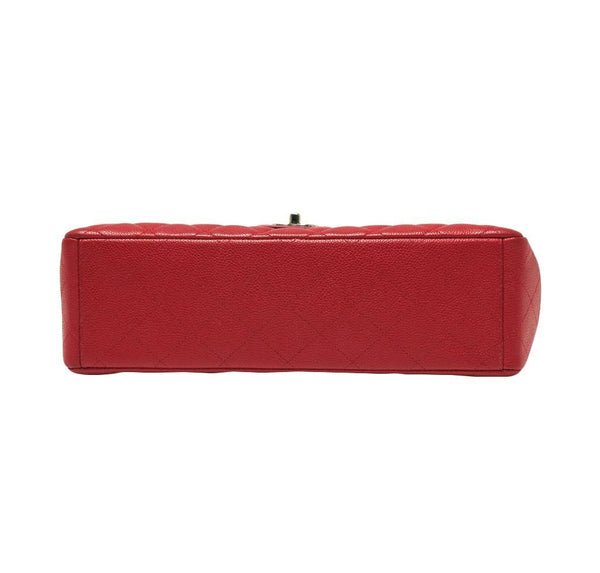 chanel single flap bad red used bottom