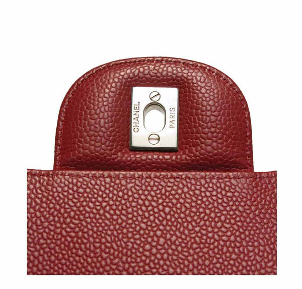 chanel single flap bad red used engraving