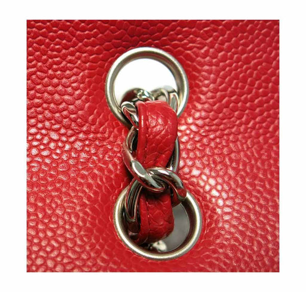 chanel single flap bad red used detail