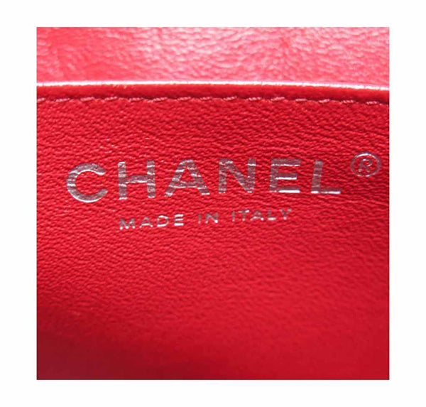 chanel single flap bad red used embossing