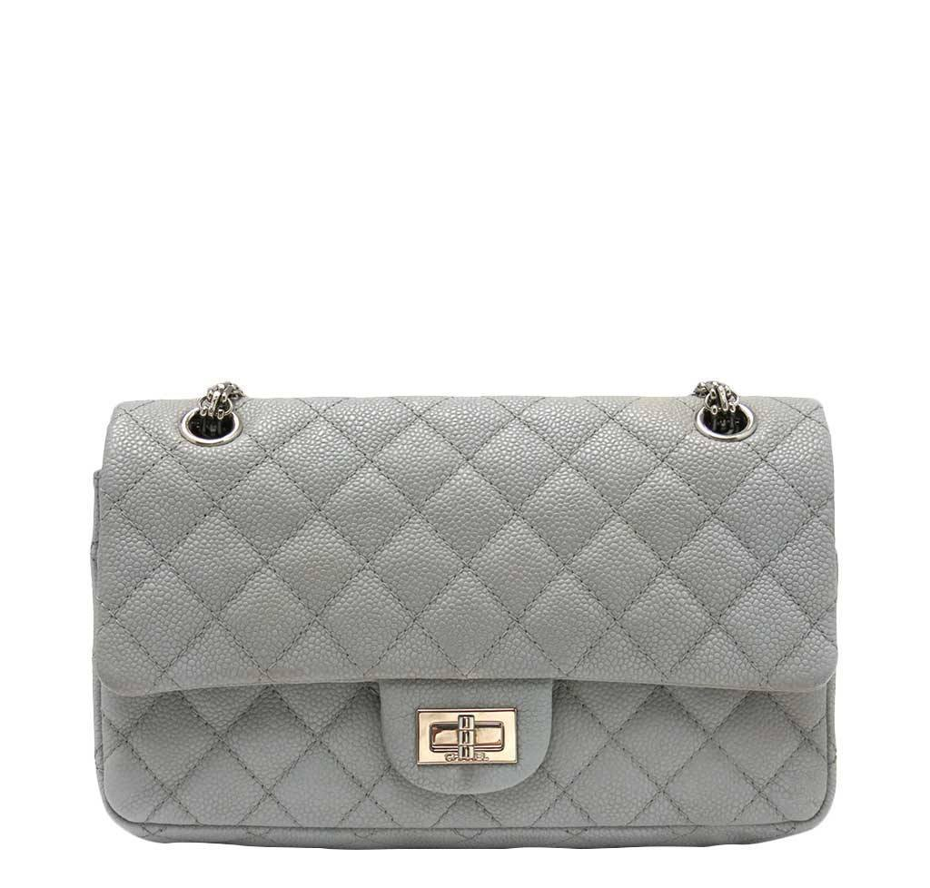 4782c16d6536 Chanel Double Flap Bag Light Gray - Caviar Leather | Baghunter