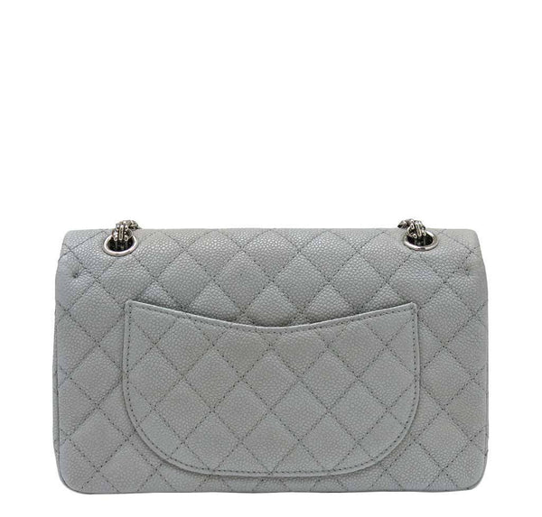 chanel double flap bag light gray used back