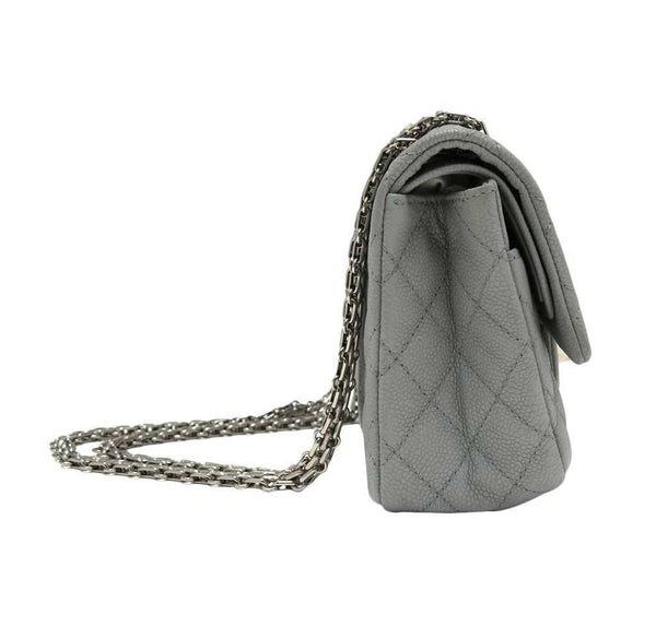 chanel double flap bag light gray used side