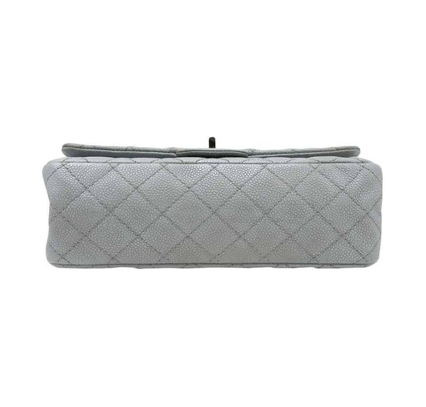 chanel double flap bag light gray used bottom