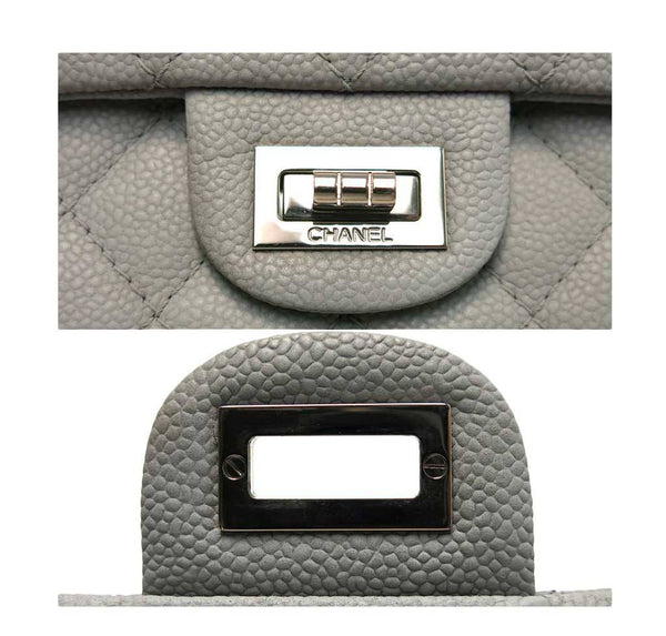 chanel double flap bag light gray used engraving