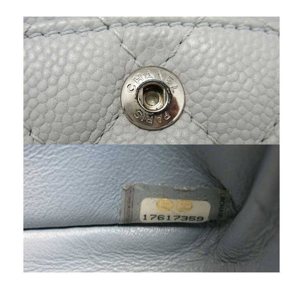 chanel double flap bag light gray used detail