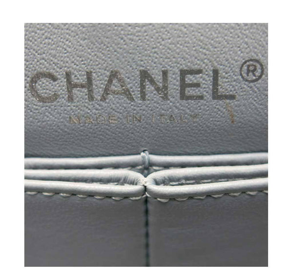 chanel double flap bag light gray used embossing