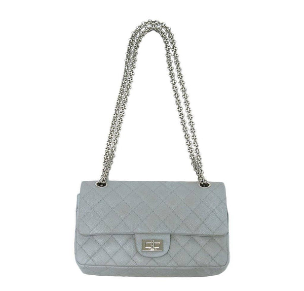 chanel double flap bag light gray used front