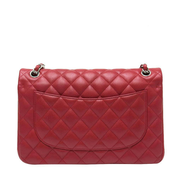 chanel double flap jumbo red used back