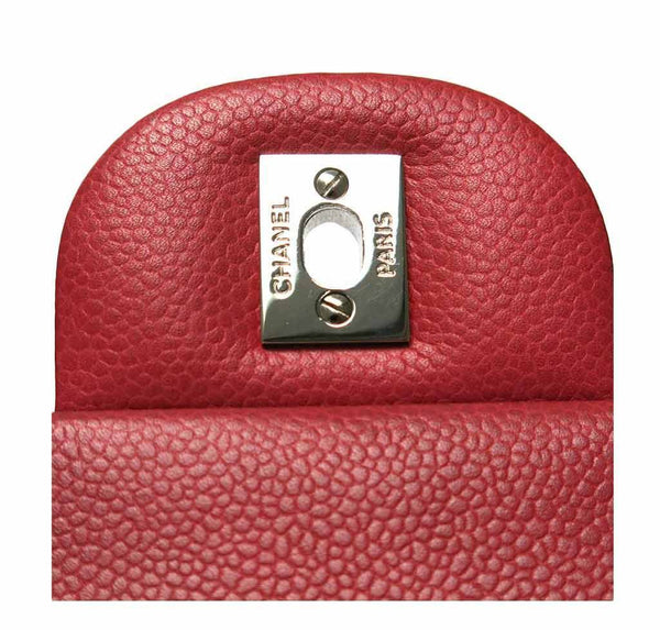 chanel double flap jumbo red used engraving