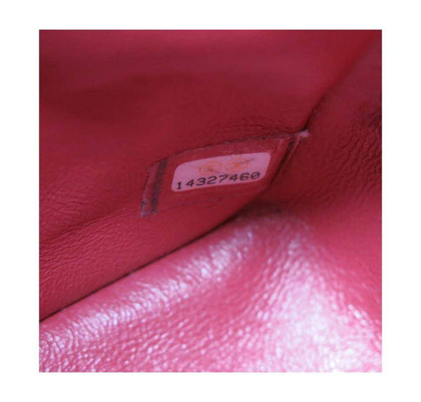 chanel double flap jumbo red used detail