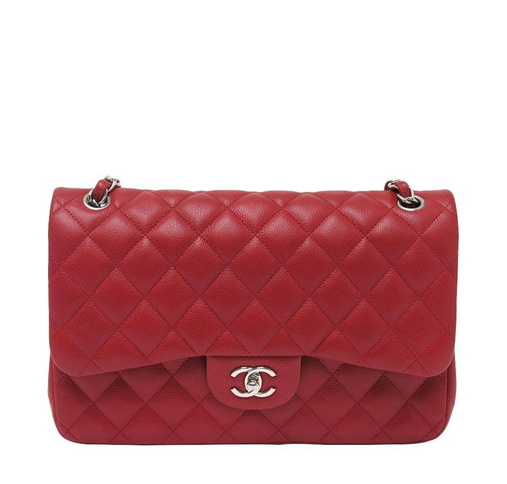 f730cbea1509 Chanel Double Flap Jumbo Bag Red - Caviar Leather | Baghunter