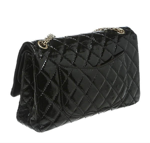 chanel jumbo flap 2.55 reissue bag black used back