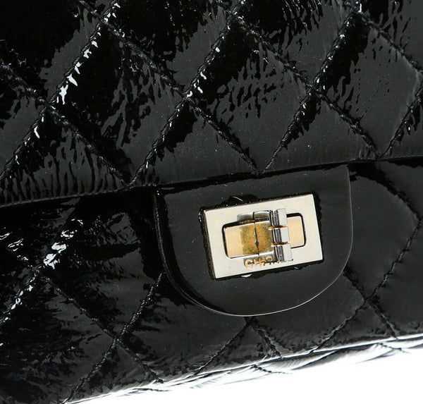 chanel jumbo flap 2.55 reissue bag black used engraving