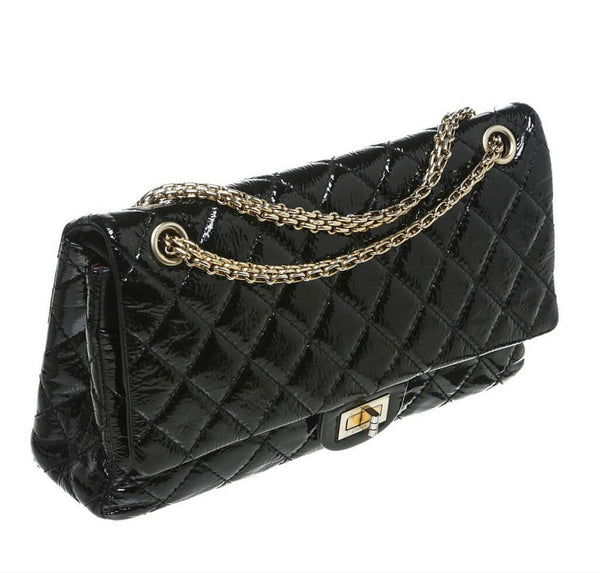 chanel jumbo flap 2.55 reissue bag black used side
