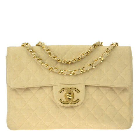Chanel Maxi Flap Bag Beige Linen