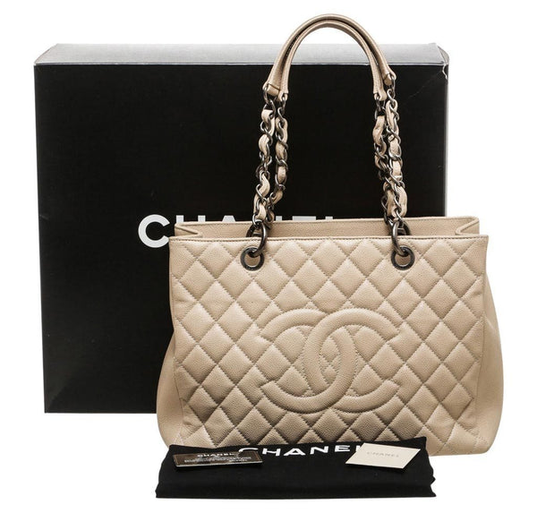 Chanel Grand Shopper Tote Beige Used Complete