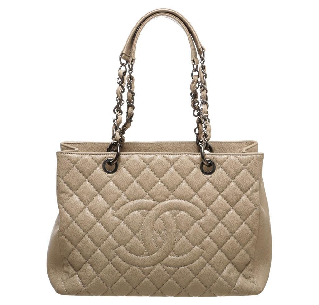 acc4d87e58a0 Chanel Grand Shopper Tote Beige - Caviar Leather | Baghunter