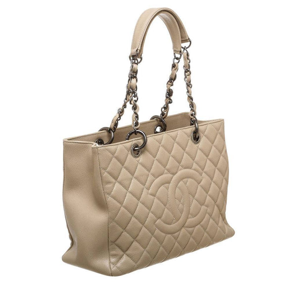 Chanel Grand Shopper Tote Beige Used Side