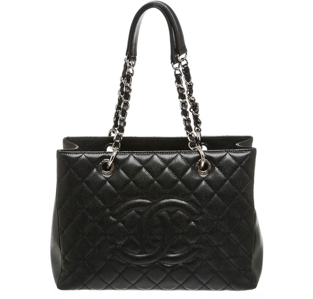066ef0128fd3 Chanel Grand Shopper Tote Bag Black Caviar Leather - Silver Hardware ...