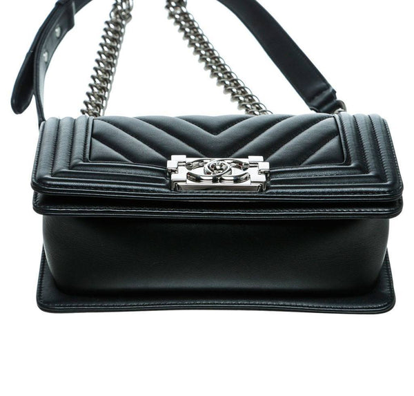 Chanel Mini Boy Chevron Black New Bottom
