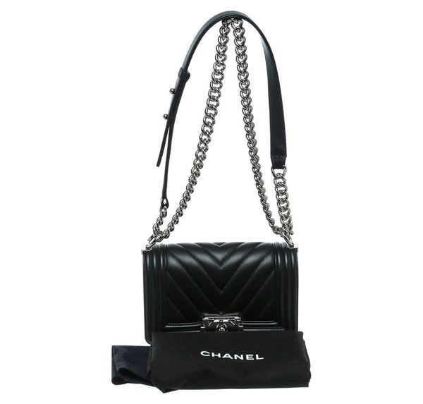 Chanel Mini Boy Chevron Black New Complete