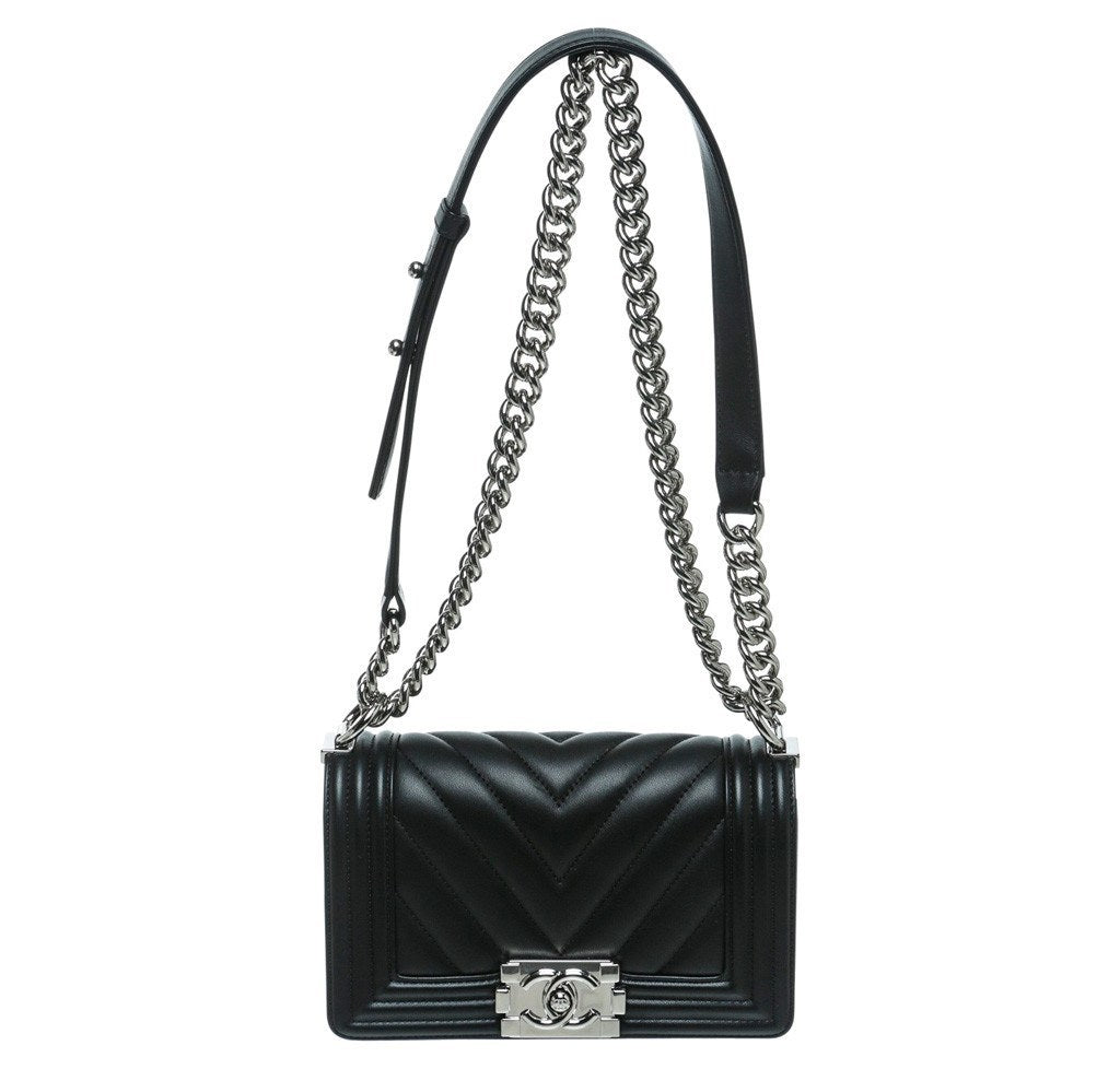 e066f041d915 Chanel Mini Boy Chevron Bag - Lambskin Black | Baghunter