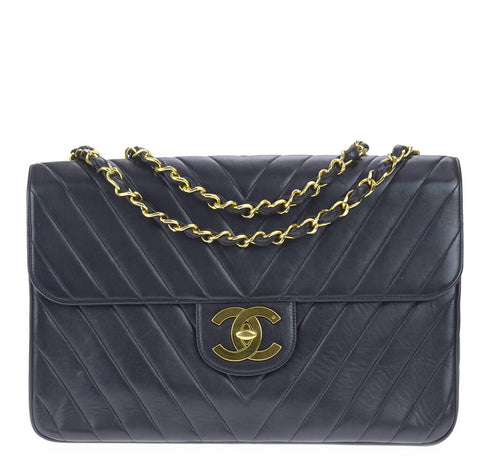 Chanel Chevron Flap Bag Black Lambskin