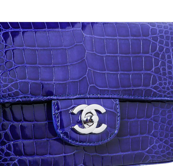 Chanel Mini Classic Shoulder Flap Bag Blue Used Detail