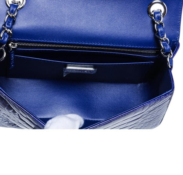 Chanel Mini Classic Shoulder Flap Bag Blue Used Inside