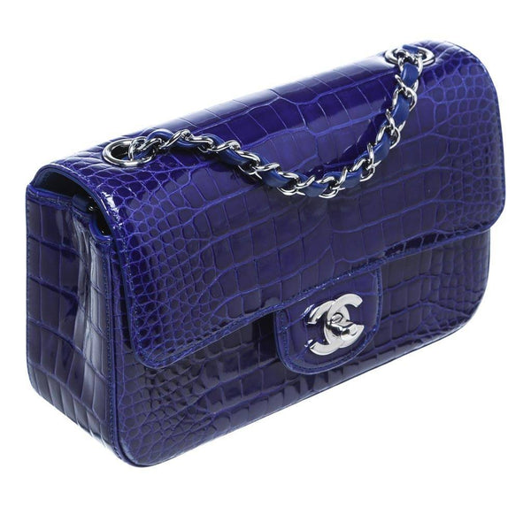 Chanel Mini Classic Shoulder Flap Bag Blue Used Side