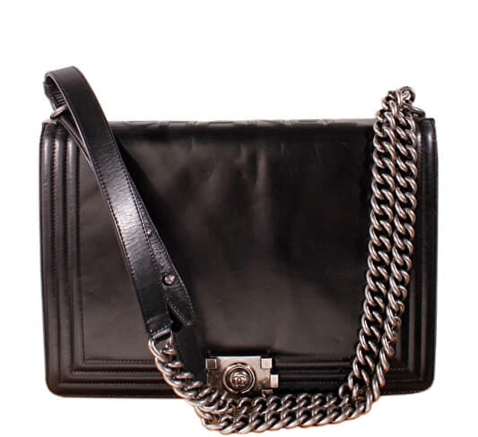dc7c8412ff13 Chanel Black Boy Bag Gunmetal Hardware - Lambskin Leather | Baghunter